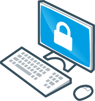 Secure computer screen icon
