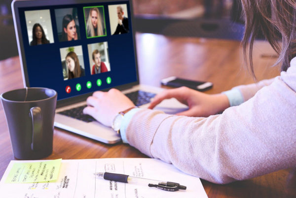 Person on computer video call